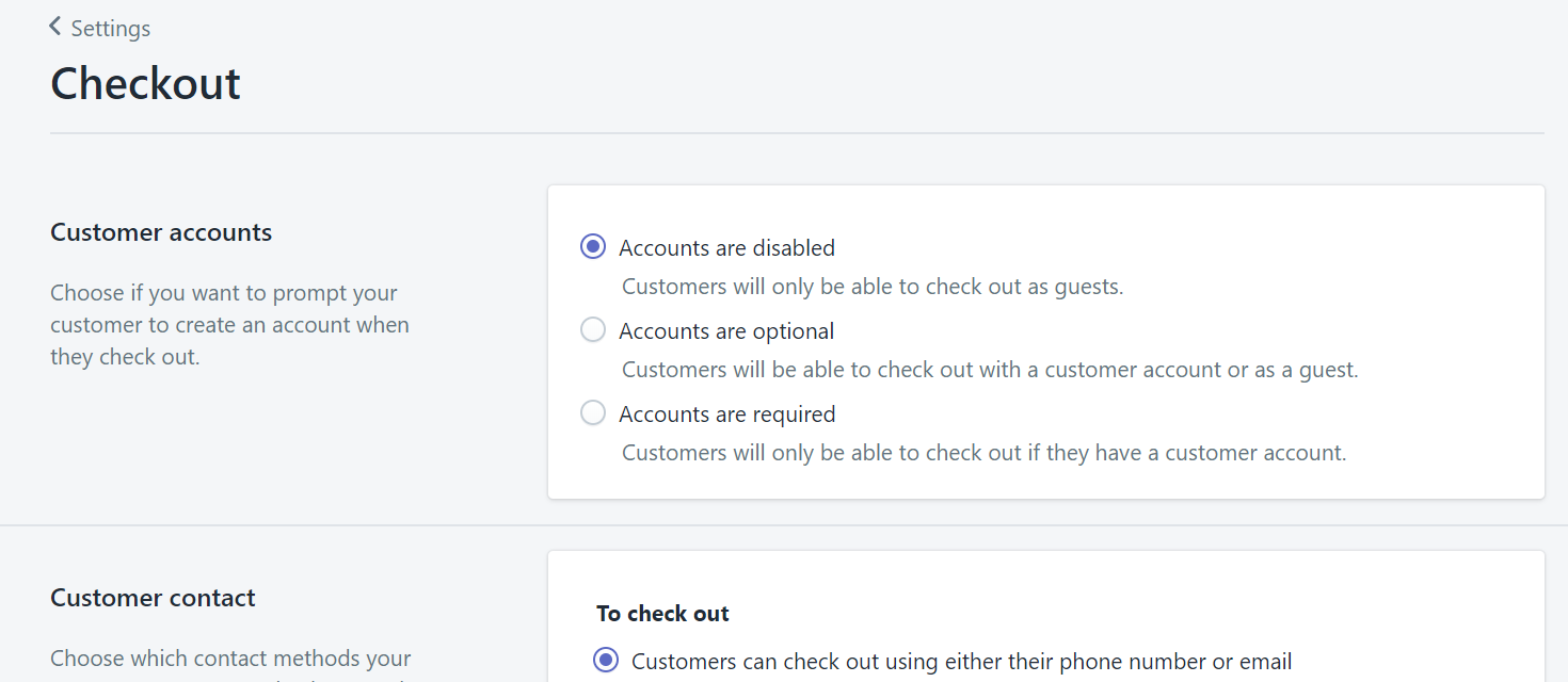 Shopify checkout settings