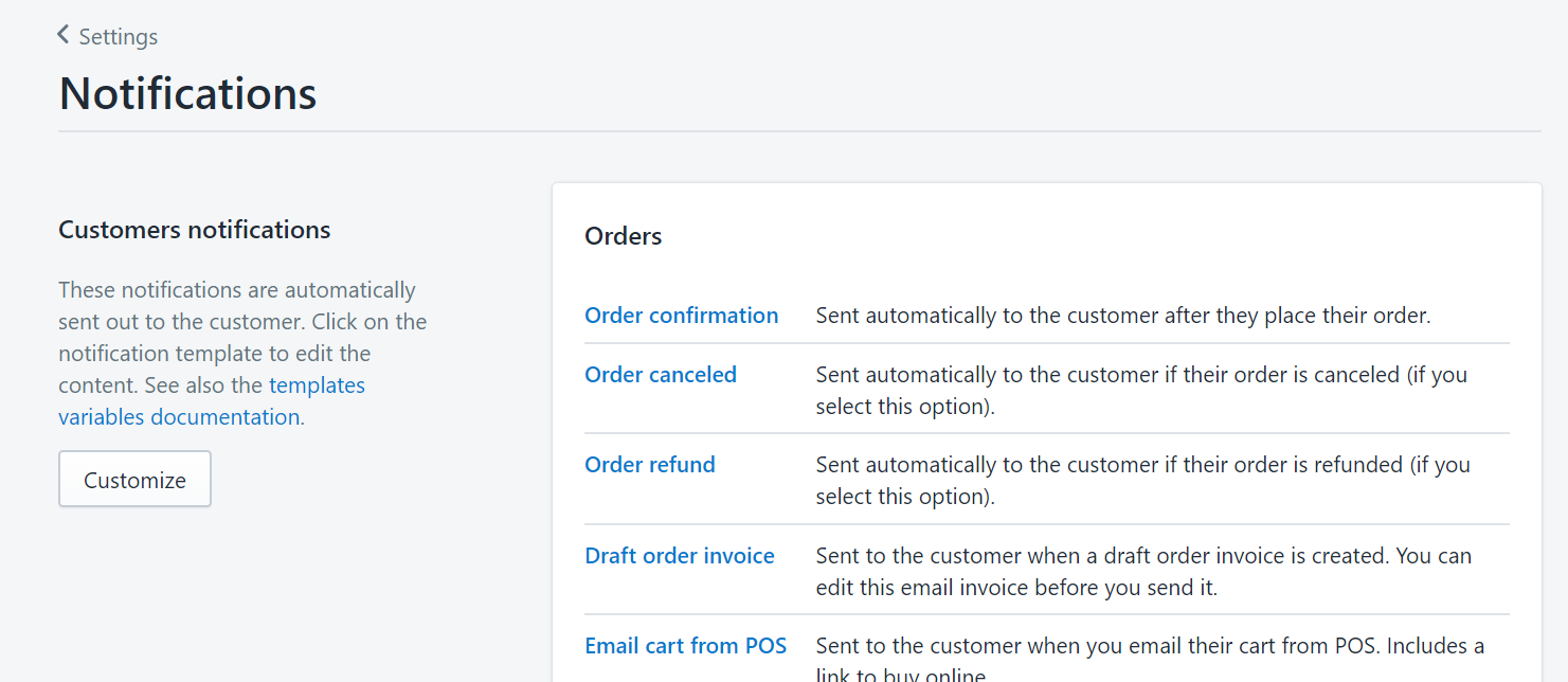 Shopify notifications