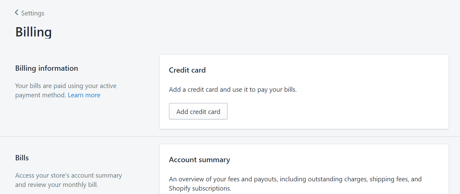 Shopify billing settings