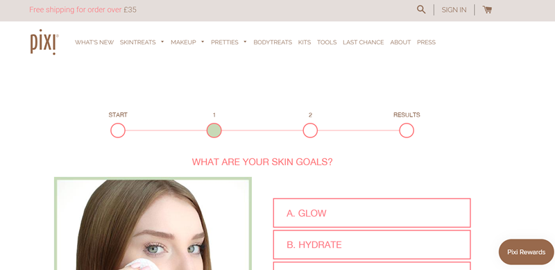 Pixi Beauty quiz progress