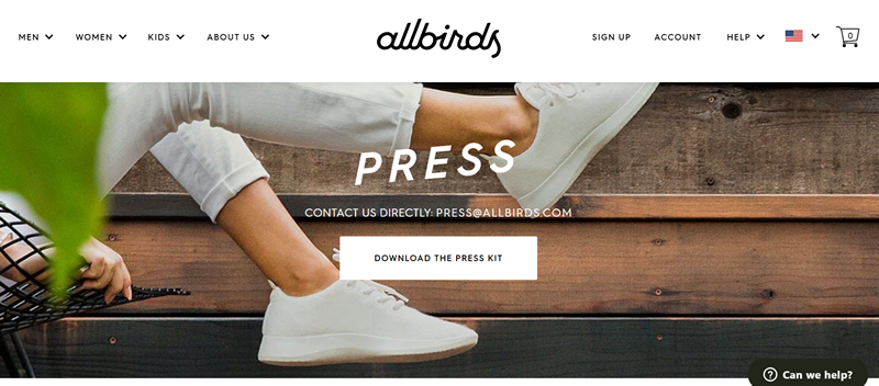 Allbirds press page